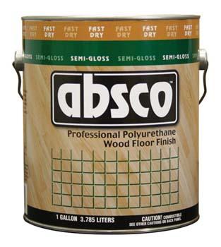 ABSOLUTE COATINGS 89621 ABSCO POLYURETHANE FAST DRY WOOD FLOOR FINISH SEMI GLOSS 550 VOC SIZE:1 GALLON.