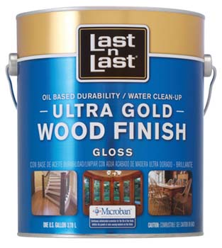 ABSOLUTE COATINGS 92001 LAST N LAST ULTRA GOLD WOOD FINISH GLOSS 275 VOC SIZE:1 GALLON.