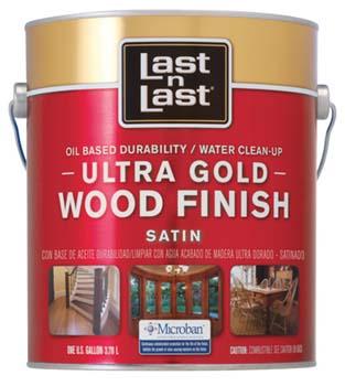 ABSOLUTE COATINGS 92101 LAST N LAST ULTRA GOLD WOOD FINISH SATIN 275 VOC SIZE:1 GALLON.