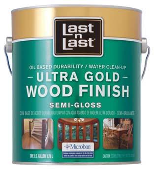 ABSOLUTE COATINGS 92201 LAST N LAST ULTRA GOLD WOOD FINISH SEMI GLOSS 275 VOC SIZE:1 GALLON.