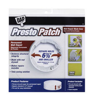 "DAP 09157 PRESTO PATCH DRYWALL REPAIR SIZE:1/2"" X 6-7/8"" PACK:12 PCS."