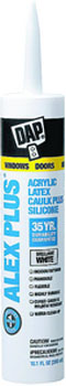 DAP 18152 ALEX PLUS ACRYLIC LATEX CAULK PLUS SILICONE WHITE SIZE:10.1 OZ PACK:12 PCS.
